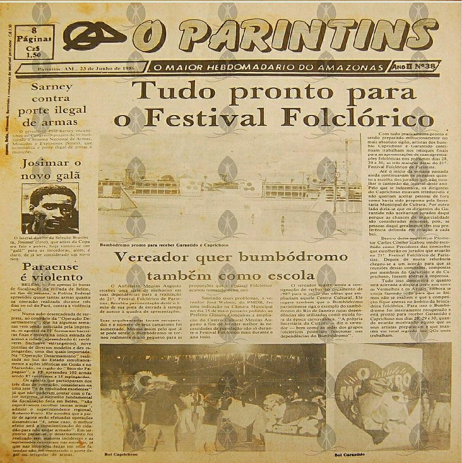 Tudo pronto para o Festival Folclórico, destacava o jornal O Parintins, de 1986