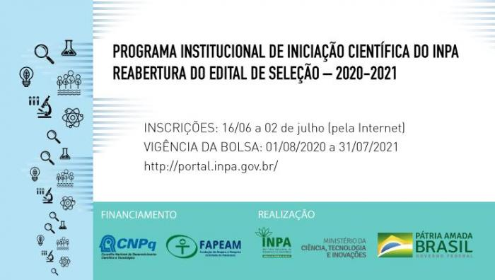 Inpa está com seleção aberta até 02 de julho para Programa de Iniciação Científica