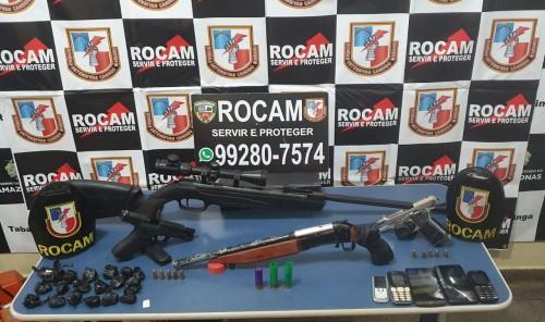 Rocam apreende armas e munições no município de Tabatinga