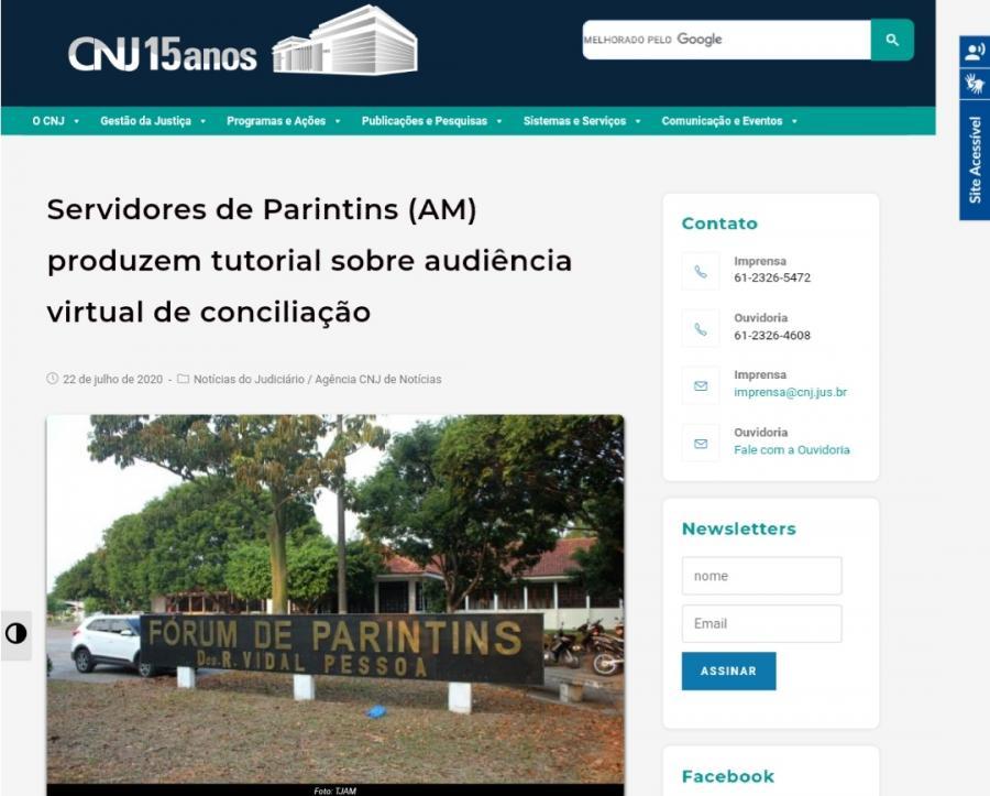 CNJ destaca vídeo tutorial sobre conciliação produzido por Servidores de Parintins (AM)