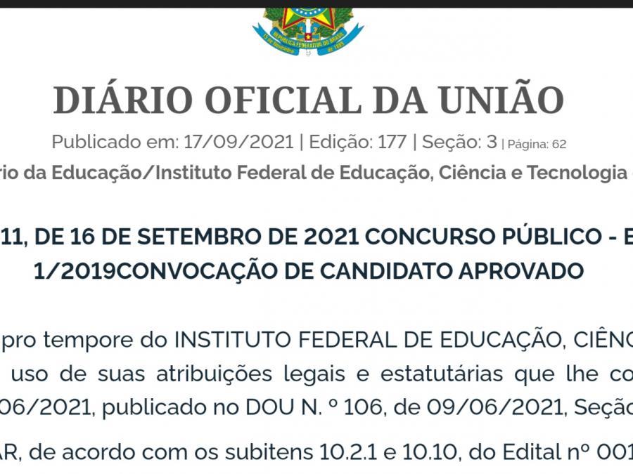 IFAM Parintins faz convocação de candidato aprovado em concurso público
